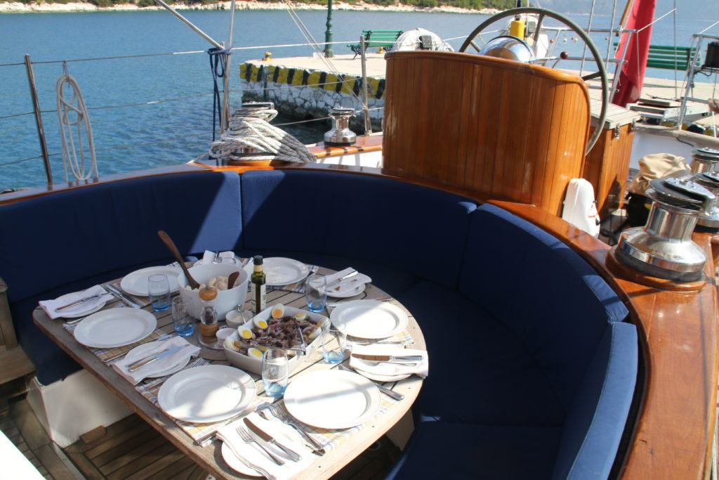 Dining on board WIndweaver Yacht Charter